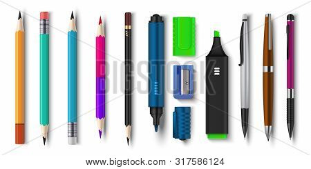 Realistic Pen And Pencils. 3d School And Office Supplies, Brush Marker And Sharpened Pencils. Vector