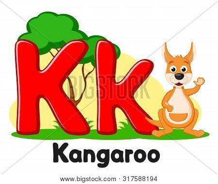 Alphabet Animals Kangaroo Waving His Paw, The Letter Kk On A White. Preschool Education.
