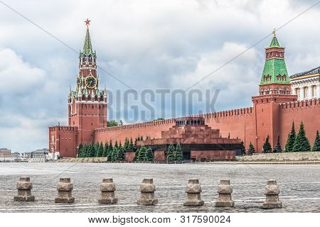 Moscow, Russia, Red square, Kremlin, mausoleum, chimes on the Spasskaya tower. poster