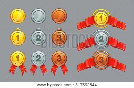 Achievement Ranking. Gold, Silver, Bronze Medals Set.