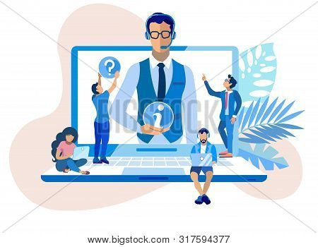 Call Center Information Support Cartoon Flat. Company Uses High Technological Operations Call Center