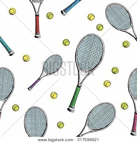 Tennis Background. Seamless Pattern Of Hand-drawn Colored Sketch Style Tennis Racquet With Yellow Te