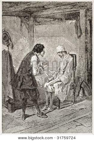 Gil Blas old illustration (picaresque novel written by Lesage). Created by Gavarni, published on L'Illustration, Journal Universel, Paris, 1863