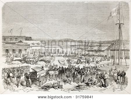 French intervention in Mexico: French troops encampment in Tampico main square. Created by Worms, published on L'illustration, Journal Universel, Paris, 1863