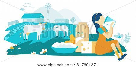 Flat Dairy Cow Family Farm Vector Illustration. Girl Drinking Milk On Background Grazing Cows. Dairy