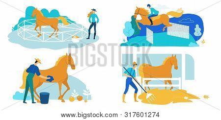 Set Work On Horse Farm, Care And Training Cartoon. Horse Is Running Along Walled Arena, Woman Standi