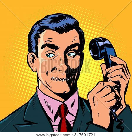 Mouth Shut. Serious Man Talking On A Retro Phone. Pop Art Retro Vector Illustration Drawing