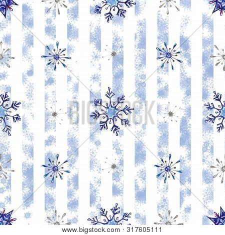 Christmas Watercolor Snowflakes Background. Decorative Snowflakes Seamless Watercolors Pattern, Wint