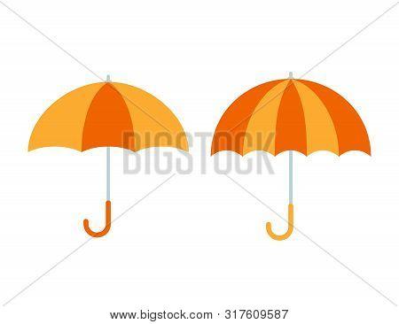 Umbrella Icon. Vector. Yellow Orange Umbrella Isolated On White Background. Flat Design. Protective