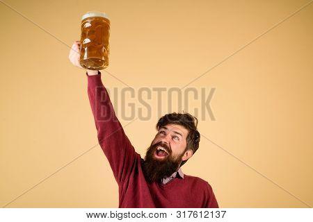 Celebration Oktoberfest Festival. Bearded Man With Glass Of Lager Beer Toasting. Man Holds Mug Of Be