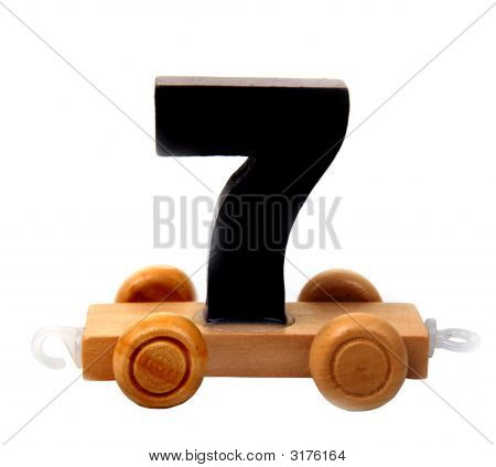isolated educational wooden toy car with deep blue number seven poster