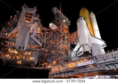 Space Shuttle Launch Pad At Night. Elements Of This Image Were Furnished By Nasa For Any Purpose