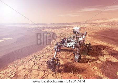 Mars Rover Explores The Surface Of The Planet Mars. Elements Of This Image Were Furnished By Nasa Fo