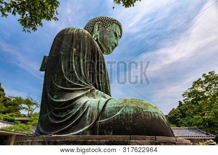 Kamakura, Japan - 15 June 2015 - Great Buddha Statue Is A Famous Destination To Visit In Kamakura, J