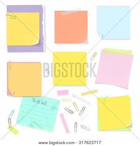 Vector Office Supplies: Todo List, Sticky Notes, Adhesive Tapes And Paper Clips. Isolated Stickers S