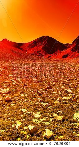Deserted Terrestial Planet With Stone In Orange Colors