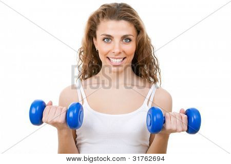 poster of Portrait of fitness woman working out with free weights