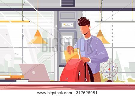 Student Packing Backpack Vector Illustration. Young Guy