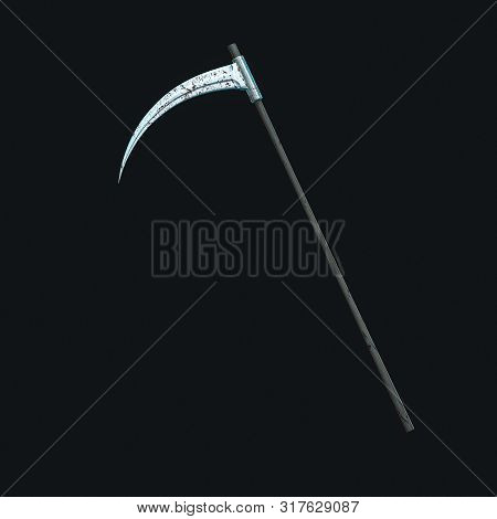 The Terrible Scythe With Dark Background, 3D Rendering.