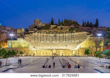 Amman, Jordan - October 15, 2018: Roman Theatre At Dusk In Amman, Jordan. The Theater Was Built Duri