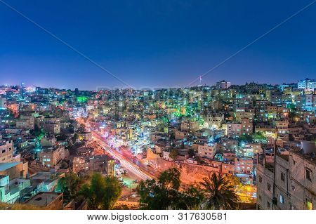 Amman, Jordan - October 15, 2018: Cityscape Amman Downtown At Dusk, Panoramic View From The Citadel