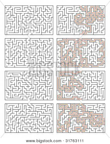 An image of four mazes with solution