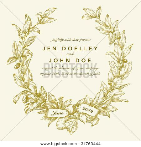 Vector Gold Wreath Background. Easy to edit. Perfect for invitations or announcements.