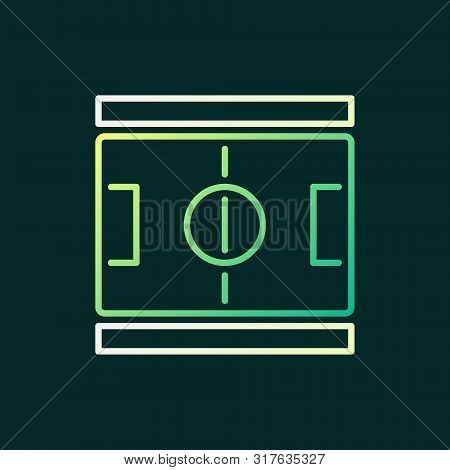 Soccer Field Outline Colored Icon - Vector Football Pitch Linear Concept Sign Or Logo On Dark Backgr