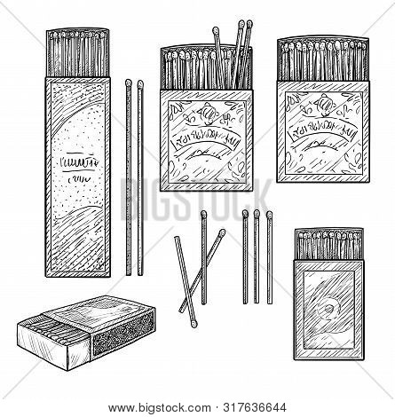 Matches Illustration, Drawing, Engraving, Ink, Line Art, Vector