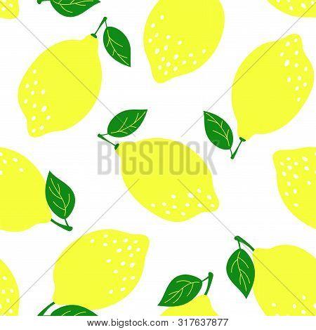 Lemon Fruit Seamless Pattern. Fashion Design. Food Print For Dress, Curtain Or Dishcloth. Hand Drawn