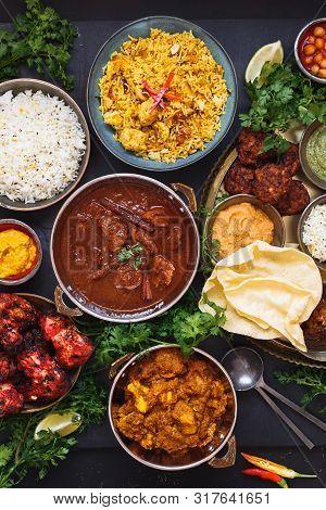 Indian Dishes Ready To Eat Featuring Rogan Josh, Chicken Tikka Masala, Biryani, Kebabs, Pasties, Dip