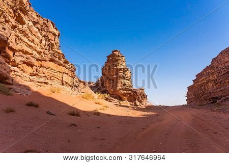 Red Mountains Of Wadi Rum Desert In Jordan. Wadi Rum Also Known As The Valley Of The Moon Is A Valle