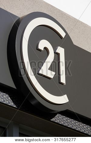 Belleville, France - June 22, 2019: Century 21 Logo On A Wall. Century 21 Real Estate Is An American