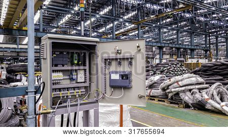 Blur Background Of Power Electricity Control Panel On Factory Site, Electrical Switch Cabinet, Main