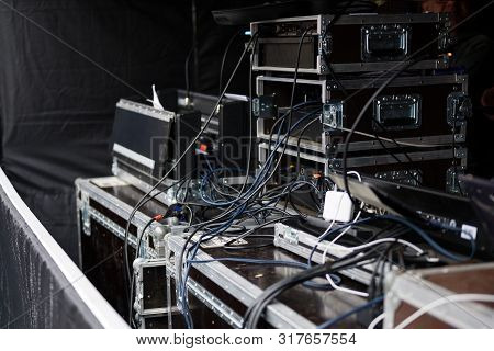 Cases And Racks From A Sound Amplification System For An Event On An Open-air Stage, Selected Focus,