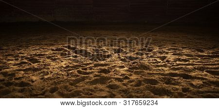 Sandy Rodeo Arena Panoramic Background. Horse Riding And Rodeo Theme.