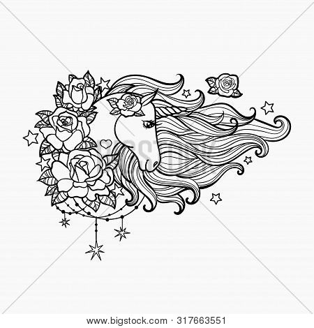Unicorn With A Long Mane And Roses. Hand Drawn Vector Illustration Black White. Vector