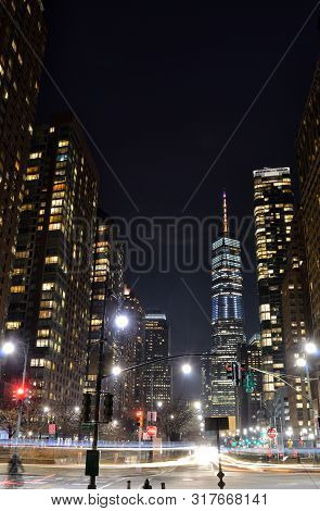 Streets Of Lower Manhattan, Nyc, At Night.