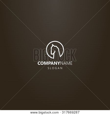 White Logo On A Black Background. Simple Vector Line Art Minimalistic Horse Head Logo In A Round Fra