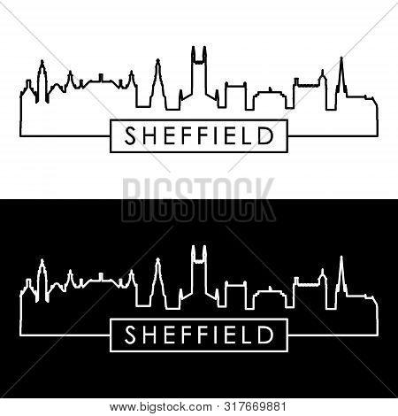 Sheffield City Skyline. Linear Style. Editable Vector File.