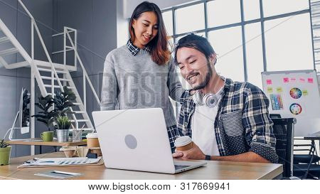 Woman Designer Buy Coffee Cup To Colleague At Modern Office In Morning At Desk.casual Workplace Life