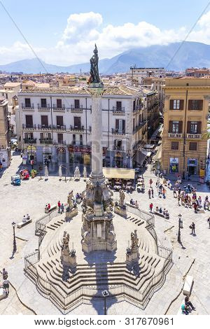 Palermo, Sicily, Italy - May 10, 2018: Column Of The Immaculate (colonna Dell Immacolata) On The Squ