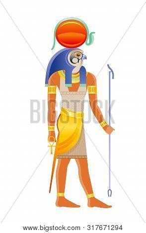 Ancient Egyptian God Ra. Deity Of The Sun With Falcon Head, Sun Disk Cobra Decoration. 3d Cartoon Ve