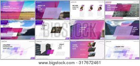 Minimal Presentations Design, Portfolio Vector Templates With Colorful Gradient Geometric Background