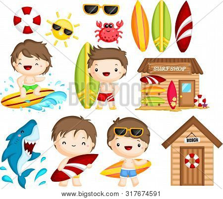 A Vector Of Many Object And Activities Related To Man Surfing