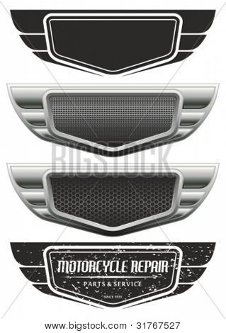 Vector winged automotive, motorcycle badge. Signs and labels.