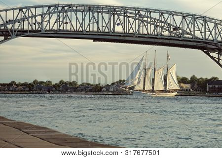 Bluewater Bridge With Tall Ship In Sarnia Ontario Canada