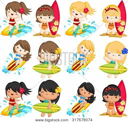 A Vector Of Many Woman Surfing In The Sea
