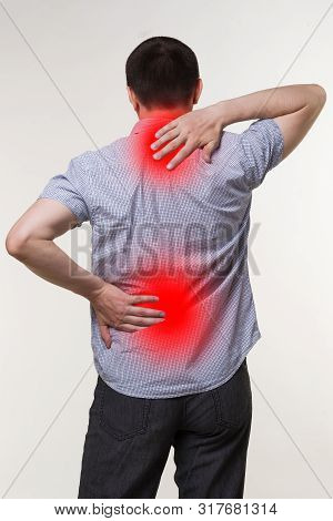 Pain In The Male Body, Man With Backache, Sciatica And Scoliosis, Chiropractor Treatment Concept