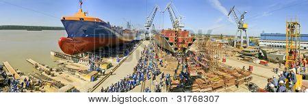 Ship before launching in the shipyard
